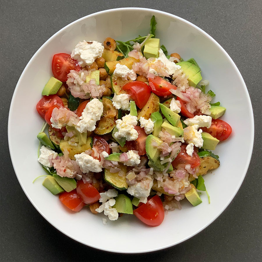 A healthy rocket, courgette and ricotta salad recipe by nutritionist Jennifer Medhurst