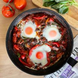 A healthy easy Shakshuka recipe by nutritionist Jennifer Medhurst