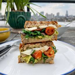A healthy avocado vegetable panini recipe by nutritionist Jennifer Medhurst